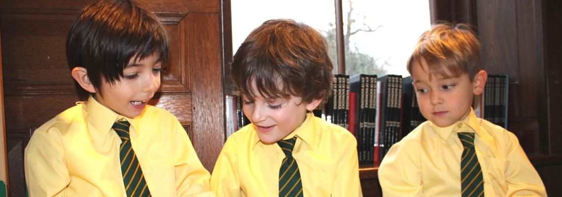 Pupils learning in library